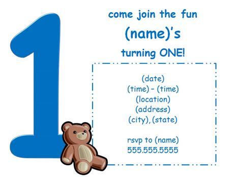 free birthday invitation templates for 1 year 1st birthday invitation for boy