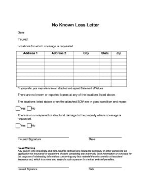Insurance No Known Loss Letter Sle No Known Loss Letter Template Letter Template 2017