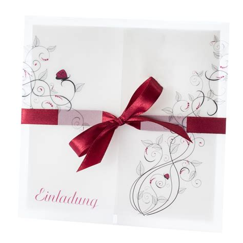 Einladungskarten Hochzeit Rot by Einladungskarte Liebesranken Bordeaux Bestellen