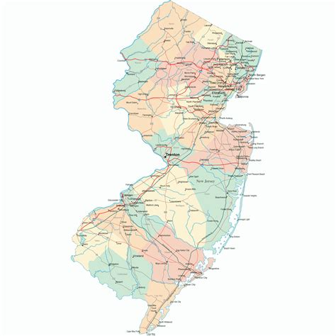 new states map state map of new jersey free printable maps