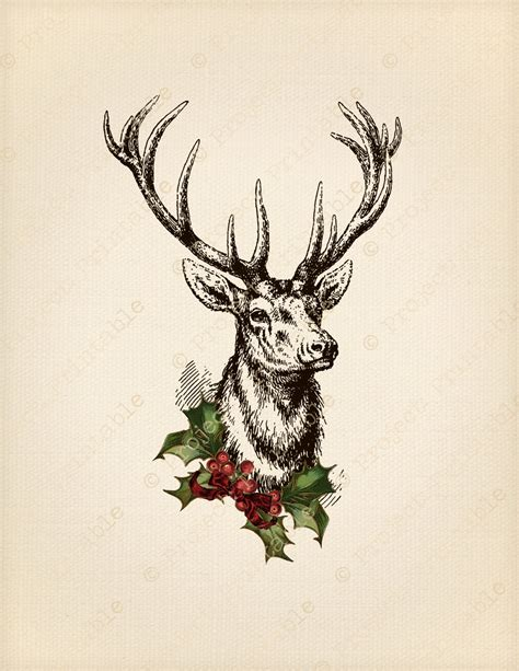 instant download printable christmas stag deer with antlers