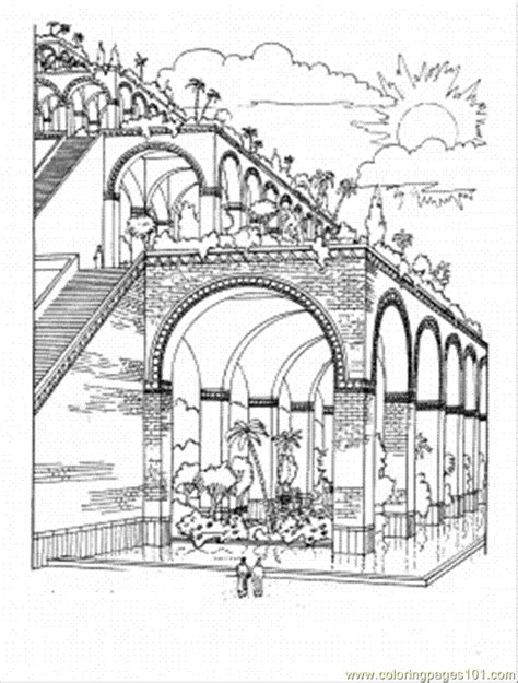 Coloring Page Hanging Gardens Babylon | hanging gardens of babylon coloring page free printable