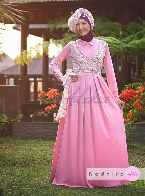 Grosir Baju Gamis Muslim Kia Maxy Two In One Ml nadhira by adzkia pink baju muslim gamis modern