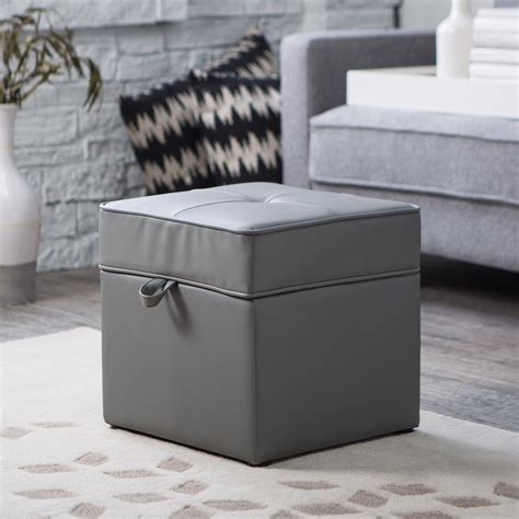 grey leather storage ottoman tova faux leather storage ottoman vintage gray