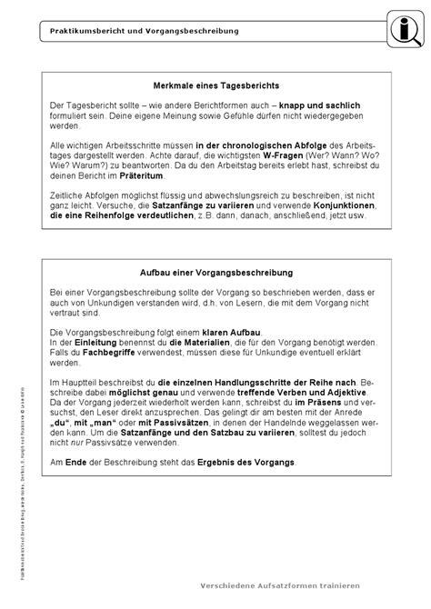 Vorgangsbeschreibung Praktikum Vorlage Vorgangsbeschreibung Arbeitsbl 228 Tter 183 Lehrerb 252 Ro