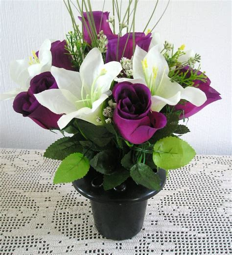 Artificial Flower Arrangements In Vases by Artificial Silk Flower Arrangement In A Grave Memorial