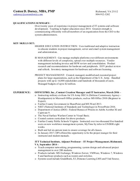 Mba Qualification In Ap by Costondorsey Resume Pm Bsa It