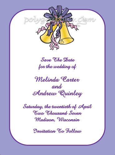Wedding Bell Name by Wedding Bell Save The Date Card Details