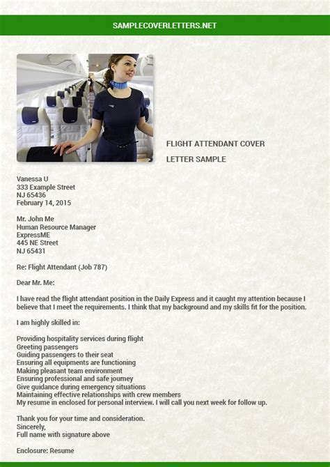 Contoh Application Letter Flight Attendant Cover Letter Rubric Ontario