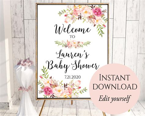 bridal shower welcome sign template welcome to baby shower baby shower welcome sign template