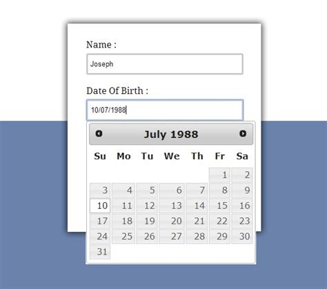 date format in javascript datepicker jquery datepicker exle formget