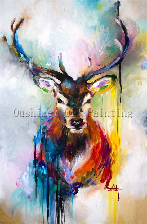 Handmade Painting - x series 100 handmade colorful animal deer portrait