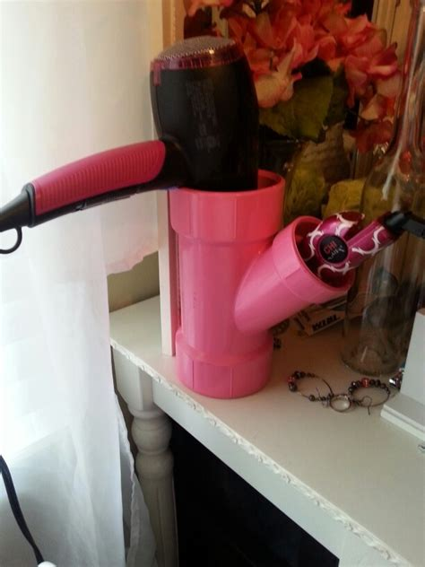 Hair Dryer Diy hairdryer straightener holder pvc pipe from lowes 3 99 spray paint diy crafts
