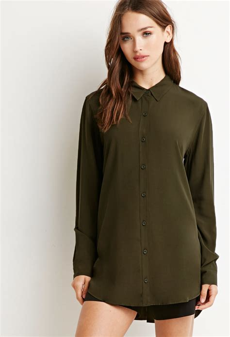 Forever21 Layered Vented Back Dress In Green forever 21 vented back shirt in green olive lyst