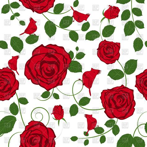 Pink Rose Pattern Clipart | seamless red roses floral pattern royalty free vector clip