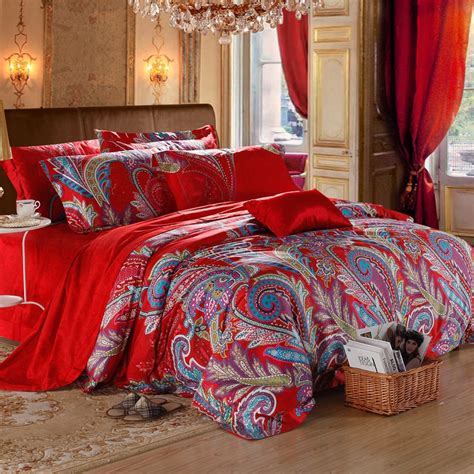 blue and red comforter sets red and blue dance paisley indian tribal and bohemian