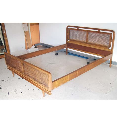 cane bed frame midcentury retro style modern architectural vintage