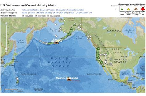 volcano usa map interactive map of volcanoes and current volcanic activity
