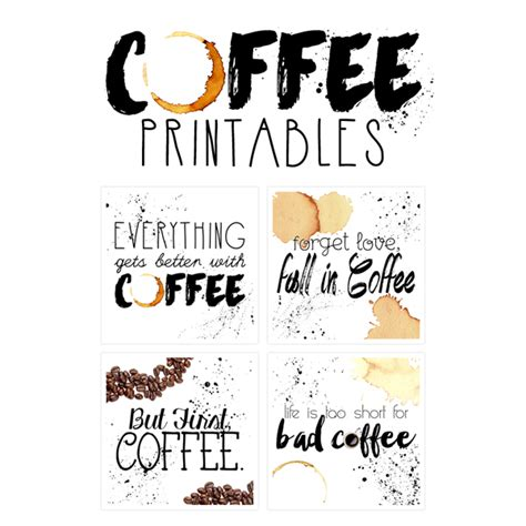 printable art free printable art the coffee collection the cottage market