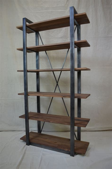 industrial rustic shelving walnut and metal shelf