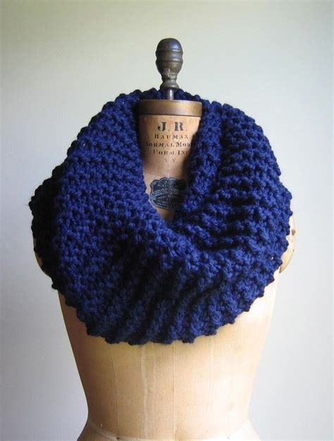 cowl pattern chunky yarn super snuggly chunky knit cowl navy blue infinity by