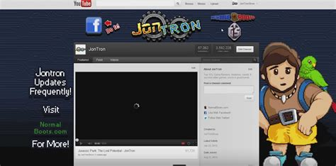 youtube old channel layout jontron s old youtube channel layout it even came with a