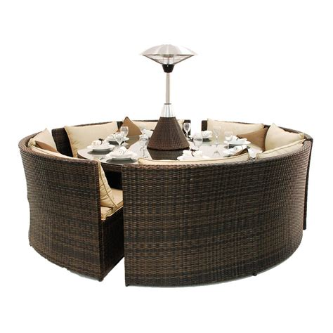 couch with dining table rattan round table dining sofa set by out there exteriors
