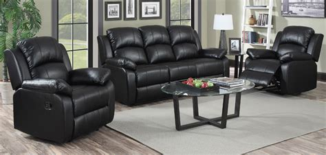 Jordan 3 1 1 Seater Black Recliner Leather Sofa Set Black Leather Recliner Sofa Set
