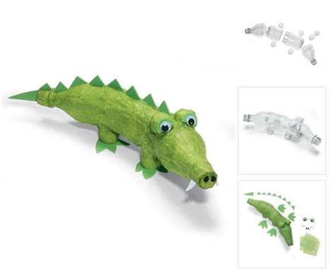 How To Make A Paper Crocodile - crocodile make from plastic bottles and paper mache