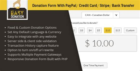 make a credit card template easydonation form paypal stripe credit card bank transfer