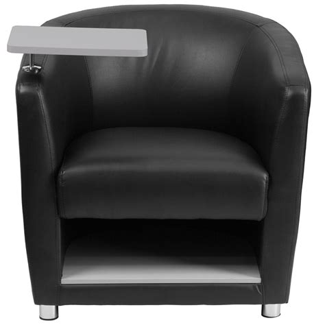 recliner with tablet arm black leather guest chair with tablet arm chrome legs and