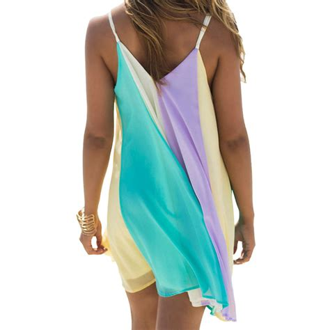 Fashions Import Dress Rainbow A30555 chiffon rainbow mini skirt summer wear dress cover up kaftan vest ebay