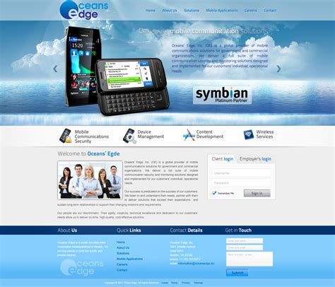 web page design needed for company oceans edge inc