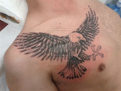 cool chest tattoos cool flying eagle on chest