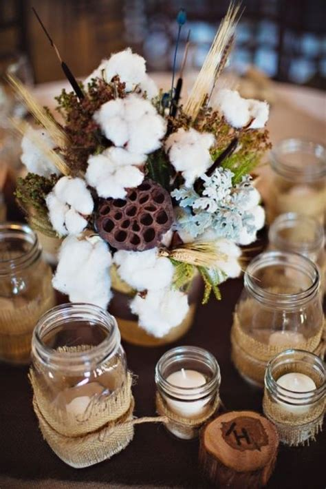 picture of a rustic centerpiece with pale miller wheat