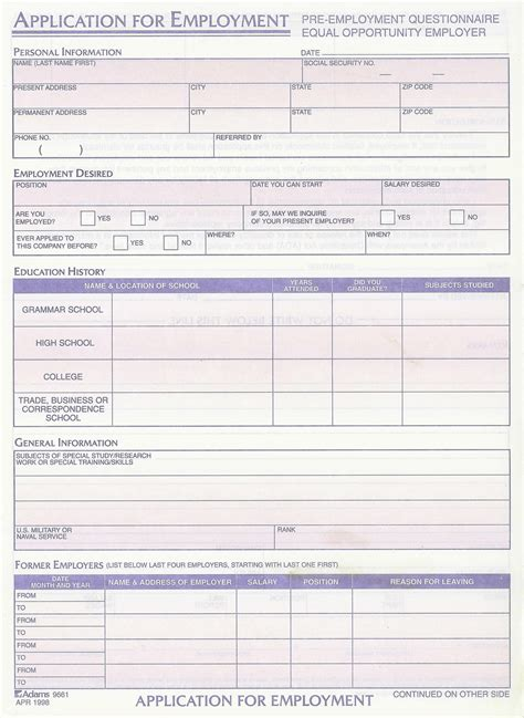 Generic Employment Application Fillable Employment Application Fillable Employment Application Template