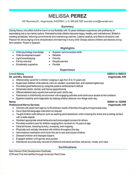 Sample Resume For Nanny Job by A Modern Resume Sample Business Proposal Templated