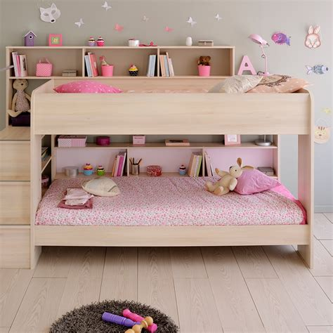 childrens headboards uk parisot kurt bibop girls bunk bed in acacia kids beds