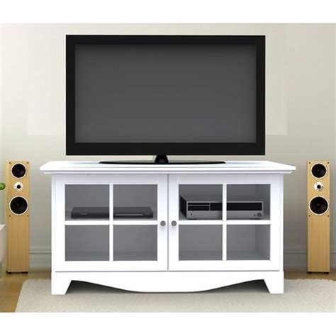 Tv Cabinet With Glass Doors Mfi Nexera 100403 49 Quot Tv Stand Console W 2 Glass Doors In Textured White Lacquer