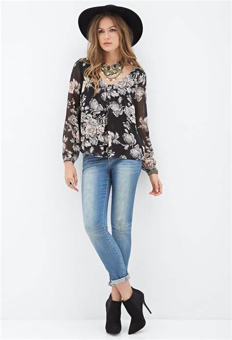 31057 Beige Black Pink Necklace Cut Top lyst forever 21 contemporary cutout back floral blouse
