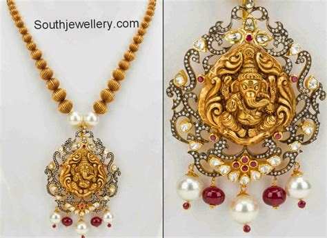 Ganesha 12 Goldplate gold balls neclace with ganesh pendant jewellery designs