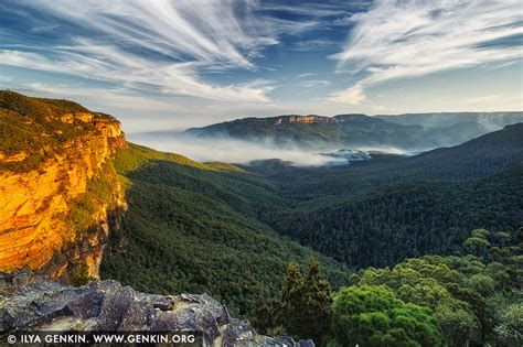 blue mountains nsw jamison valley at sunset princes rock lookout wentworth