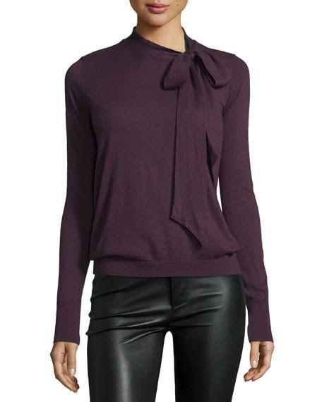 Tie Neck Collar Sweater autumn tie neck sweater neiman