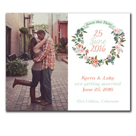 Date At Wedding Shop floral wreath rustic save the date magnet funflip the