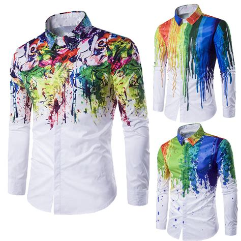 colorful shirts 2017 s luxury 3d casual sleeve colorful rainbow