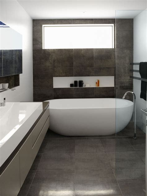 Small Bathroom Floor Tile Design Ideas by Oval Freestanding Soaker Bathtubs On Grey Tile Floors