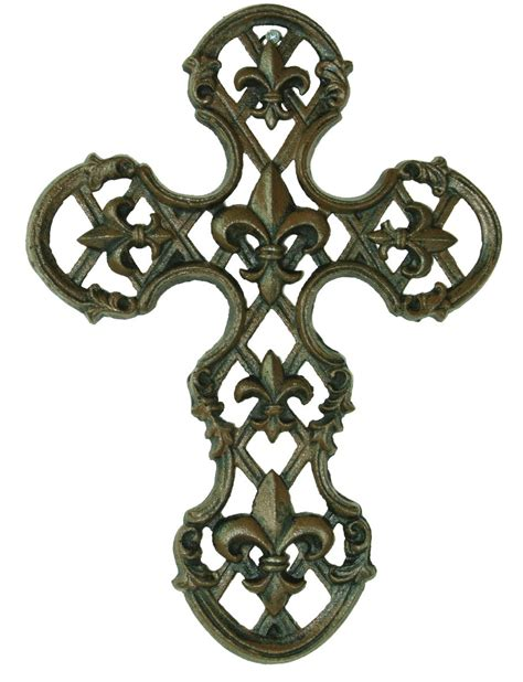 fleur de lis decor cast iron fleur de lis wall cross rustic home decor ebay