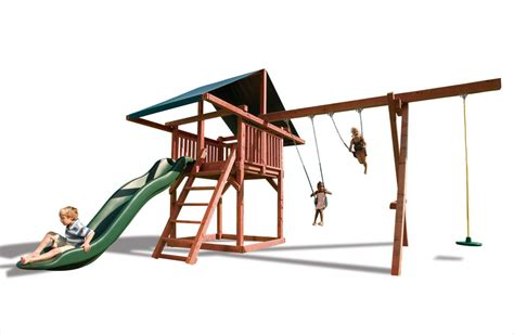 kids creations swing set opening act wood swingset for kids with large slide canopy