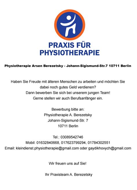 Bewerbung Physiotherapie Stellenangebot Physiotherapeut In Ergotherapeut In In Berlin