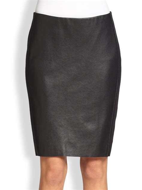 bailey 44 stretch jerseypaneled faux leather skirt in